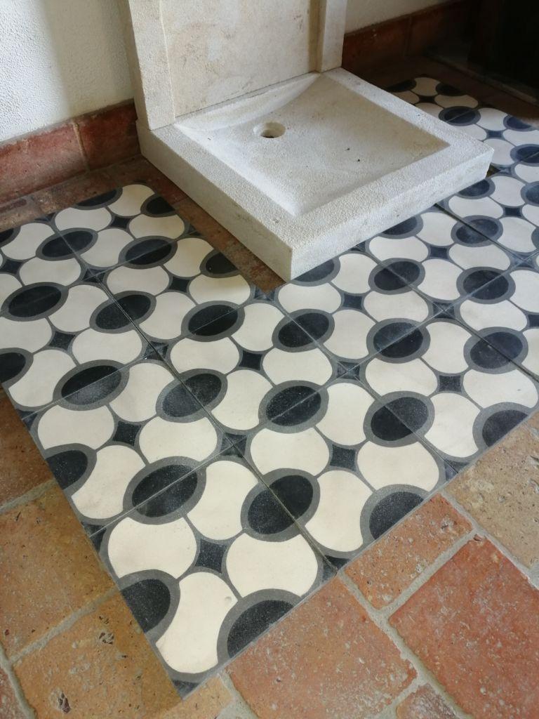 Carreaux de ciment motif ovale - Années 70   BCA Matériaux Anciens