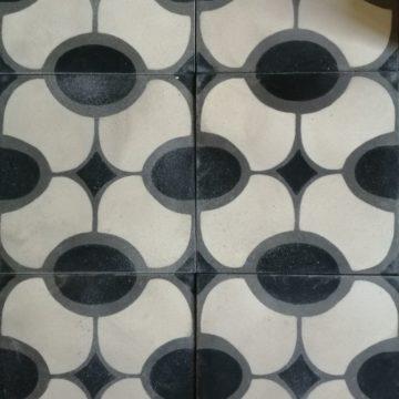 carreaux de ciment au motif ovale des années 70
