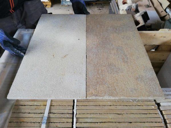 différence entre le parement sec et humide en pierre mera beige