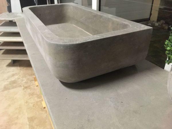 vasque et plateau en pierre neuve grise type argos