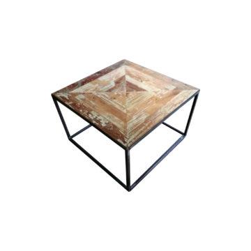 table carrée en métal avec plateau teck