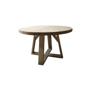 table ronde en chêne brossé fort