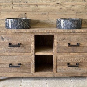 meuble de salle de bain en vieux chêne dimensions 140cm