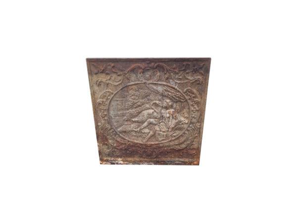 plaque ancienne avec médaillon femme et cygne