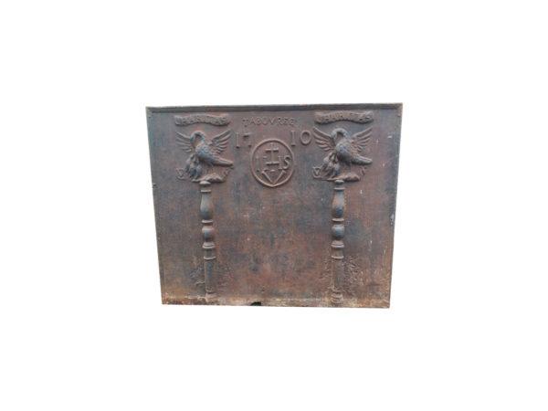 plaque de cheminée avec colonnes Hercule de 1710