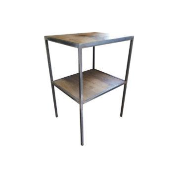 étagère à deux plateau en métal et chêne
