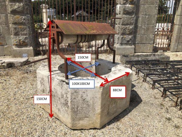 dimensions puits ancien en pierre et bois