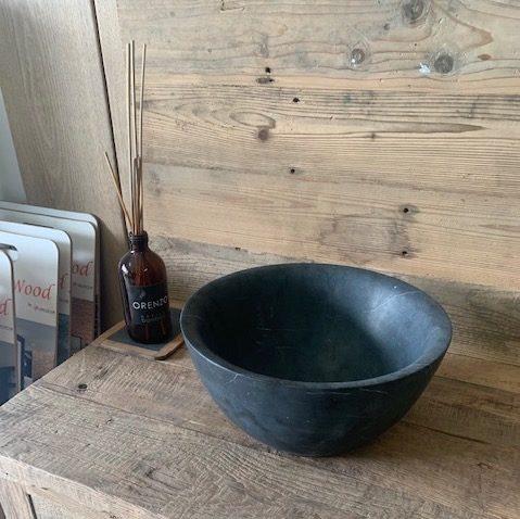 évier rond en pierre bleue pour salle de bain